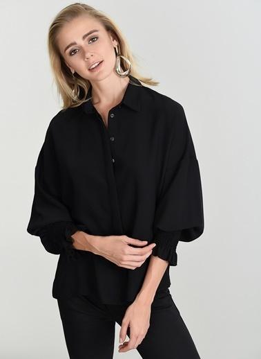 People By Fabrika Gipe Detaylı Gömlek Siyah